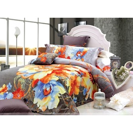 Well-mannered Gray 4 Piece Modern Chinese Ink Comforter Sets