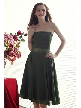 Comfortbal A-Line Strapeless Pleats Knee-length Nadya's Bridesmaid Dress