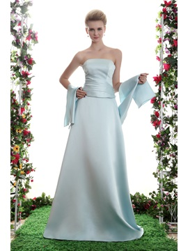 A-Line Strapless Floor Length Yana's Prom/Bridesmaid Dress With Jacket/Shawl