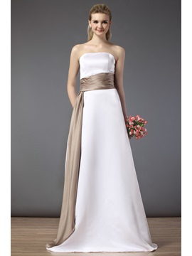 Simple Strapless A-line Floor-length Bridesmaid Dress