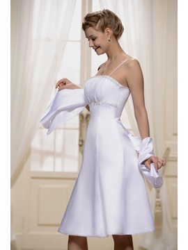 Spaghetti Strap Shirred Empire Bridesmaid Dress With Jacket/Shawl