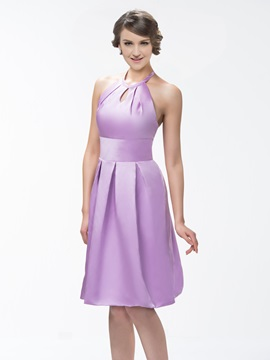 Style Halter Knee-Length Zipper-up A-Line Bridesmaid Dress