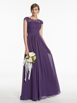 Scoop Cap Sleeves A Line Long Bridesmaid Dress