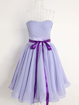 Ruched Sweetheart Short Lavender Chiffon Bridesmaid Dress