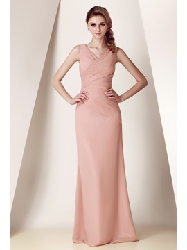 Elegant Sheath/Column V-Neck Pleats Floor-Length Dasha's Bridesmaid Dress
