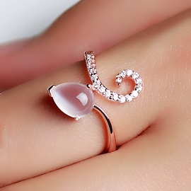 Delicate Natural Opal 925 Sterling Silver Rose Gold Plated Women's Ring