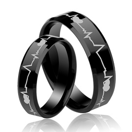 Heartbeat Unisex Black Tungsten Lover's Bands(Price For A Pair)