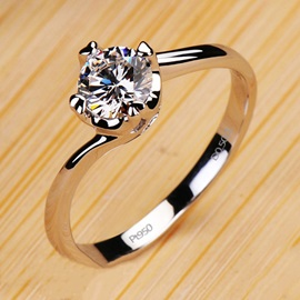 Luxury Eight Hearts & Eignt Arrows D0.5ct NSCD Diamond Engagement/Wedding Ring