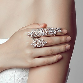 Charming Pave Rhinestones Plated Ring
