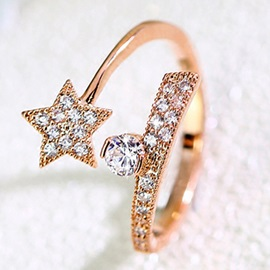 Charming Star Design Opening Ring