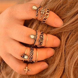 Retro Silver Plated Elephant Moon Knuckle Ring Set of 10pcs