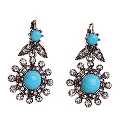Vintage Blue Gemstone Flowers Women Earrings