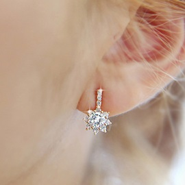 Cute Rhinestone Sun Flower Design Earrings
