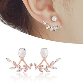 Sparkling Leaves Design Rhinestone Earrings