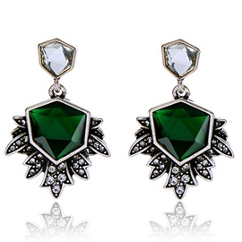 Exaggerated Irregular Emerald Stud Earrings