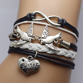 Double Birds & Infinity Decorated Sister Bracelet
