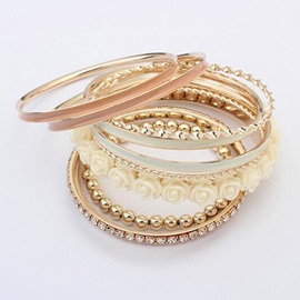 Alloy Multi-layer Women Bracelet with Flowers