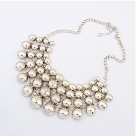Chic Multiayer Round Shape Alloy Necklace - Silver