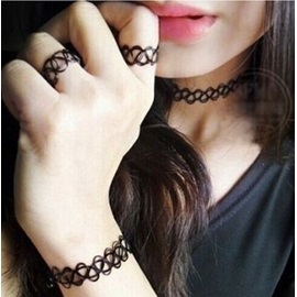 European Hand-knitted Tattoo Choker Necklace with Bracelet & Ring