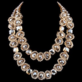 Wonderful Double Layers Crystal Necklace