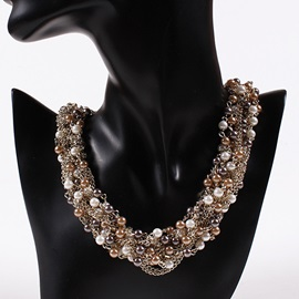 Pearls Inlaid Short Necklace for Women