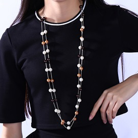 Double Layers Plastic Beads Necklace