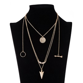 Multilayer Geometric Pendant Alloy Necklace