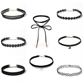 Eight Pieces Gothic Style Lace Choker Necklace