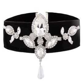 Rhinestone Inlaid Wide Velvet Choker Necklace