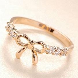 Elegant Korean Style Bow Knot Diamond Alloy Lady Ring