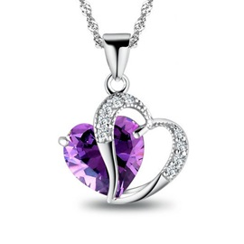 Nice Heart to Heart Amethyst 925 Sterling Silver Necklace