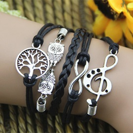 Handsome Owl Infinity with Musical Note Best Friend/Vintage Bracelet