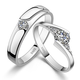 Nice Delicate 925 Sterling Silver Lover's Rings(Price For A Pair)