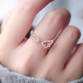 Hollow-out Angel Wings with Rhinestone Opening Ring