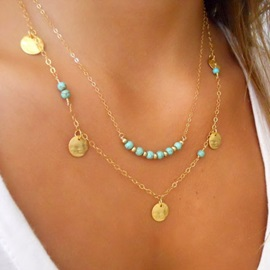 Double-deck with Turquoise Alloy Necklace