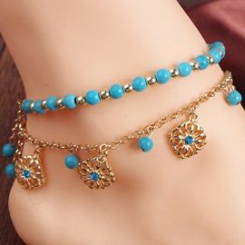 Double-deck Turquoise Decorated with Floral Pendant Anklet