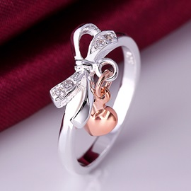 Bowknot with Heart Pendant Decorated Ring