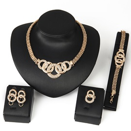 Hollow Chic Alloy with Rhinestones Women Jewelry Set