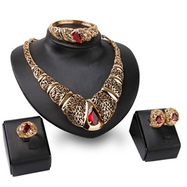 High Quality Hollow Gemstone Jewelry Set