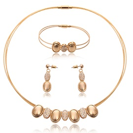 Fashion E-Plating 3 Pieces Women Jewelry Set