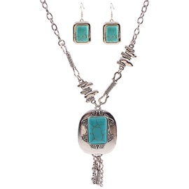 Retro Alloy Carved Turquoise Jewelry Set