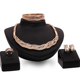 Gold Hollow-Out Four Pieces Jewelry Set