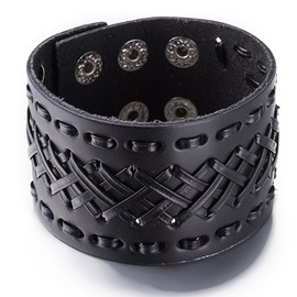 Retro Black Leather Bracelet