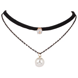 Multilayer Pearl Pendant Choker Necklace