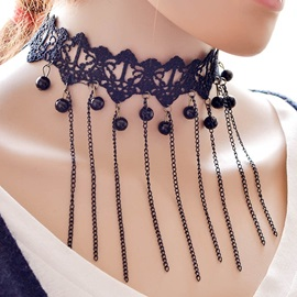 Chain Tassels Lace Choker Necklace