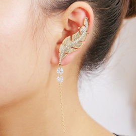 Golden Leaf Diamante Ear Cuff