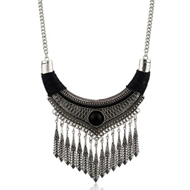 Alloy Tassels Leaves Statement Necklace