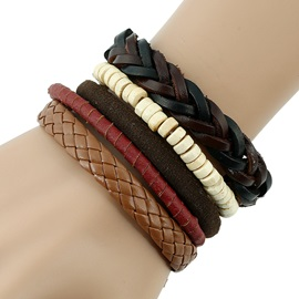 Leather Rope Woven Six Pieces Bracelet