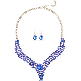 Full Crystal Alloy Two Pieces Women's Jewelry Set