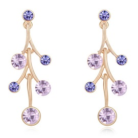 Purple Crystal Inlaid Gloden Plated Earrings